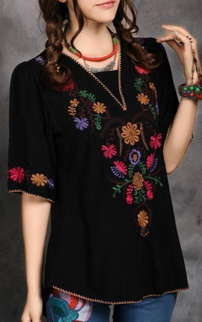 Bordado de algodón Casual Mini, vintage mexicano étnico flor del BOHO Hippie Vestidos mujer mujeres se visten Vestidos Tops