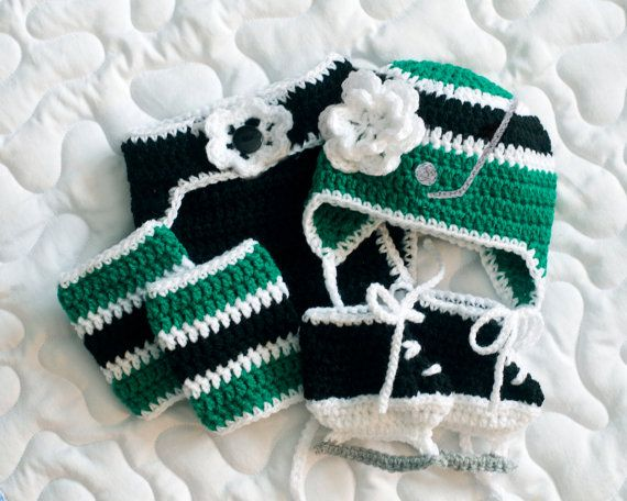 BABY GIRL HOCKEY Outfit Crocheted 4 Little Stars by Grandmabilt