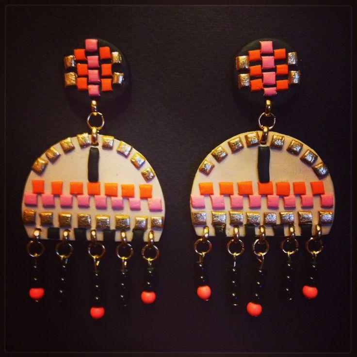 Statement bohostyle mosaic chandelier earrings