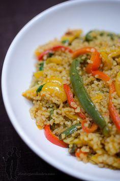 Poêlée de boulgour aux poivrons et au curry   Piratage Culinaire