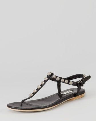 Nickel+Studded+Thong+Sandal,+Black+by+Balenciaga+at