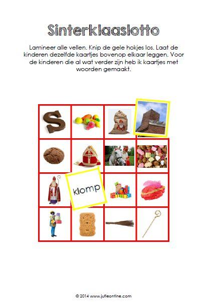 Sinterklaaslotto kleuters. Kinderen leggen dezelfde plaatjes op elkaar, of het woord als ze al een beetje kunnen lezen.