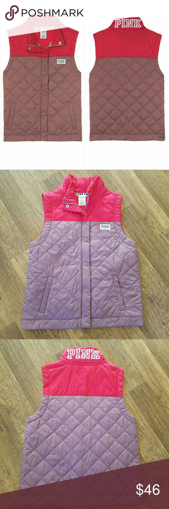 VS Pink Vest NWOT VS Pink Vest  Size XS Fits a little oversized Puffer style, quilted look Side pockets Logo printed on back  Snap buttons and full zip Soft begonia & red color block   Brand new item without original shipping bag from online order Same day shipping in most cases PINK Victoria's Secret Jackets & Coats Vests