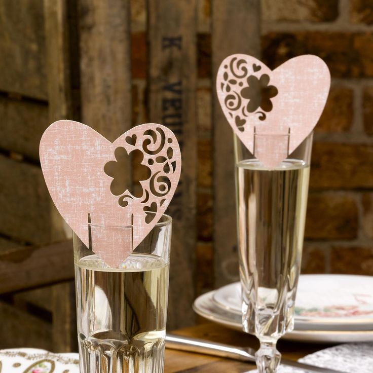 Pink Wedding Glass Decorations - With Love