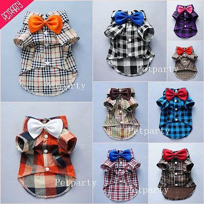 Fitwarm Handsome Boy Dog Clothes Comfy Dog Shirt Bow Tie Gift