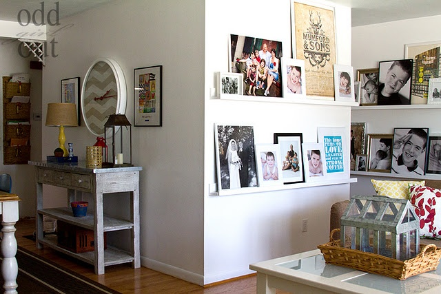 photo ledges: Picture Ledge, Home Tours, Photo Display, Photo Wall, Pictures Ledge, Wall Shelves, Odd Girls, Concerts Posters, Pictures Wall