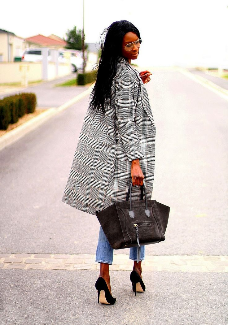 Checked coat, celine bag