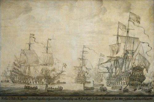 Willem van de Velde de Oude, Krijgsraad aan boord van de Zeven Provinciën, 1666.
