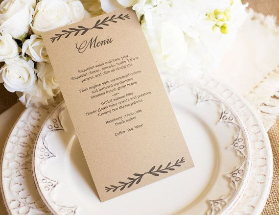 Rustic Wedding Menu Template  DOWNLOAD Instantly  by VineWedding
