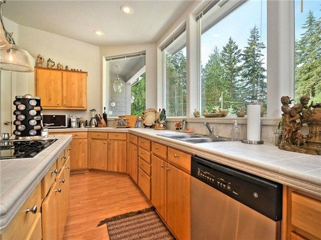 Plenty of space to cook and entertain. Cook's kitchen with views to the garden and waterfall outside.
