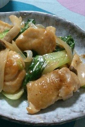 鶏肉とチンゲン菜のオイマヨ炒め