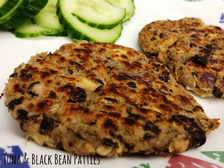 tuna patties, tuna and black bean patties, healthy meal,