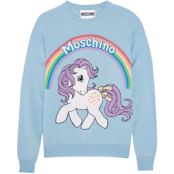 Moschino + My Little Pony intarsia wool sweater (8.038.455 IDR) ❤ liked on Polyvore featuring tops, sweaters, blue, multi color tops, wool sweaters, woolen sweater, woolen tops and moschino top