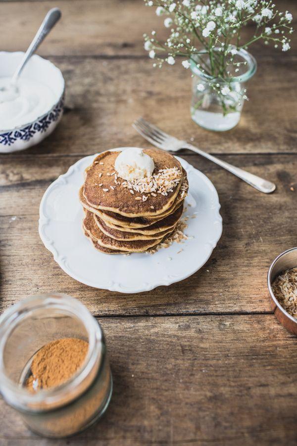 Pancakes carottes, vanille, mascarpone & Pancakes coco, lait d'avoines