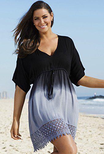 Fashion Bug Womens Plus Size Black/Grey Ombre Crochet Cover Up www.fashionbug.us…
