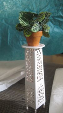 Victorian style plant stand from wooden fan - photo only