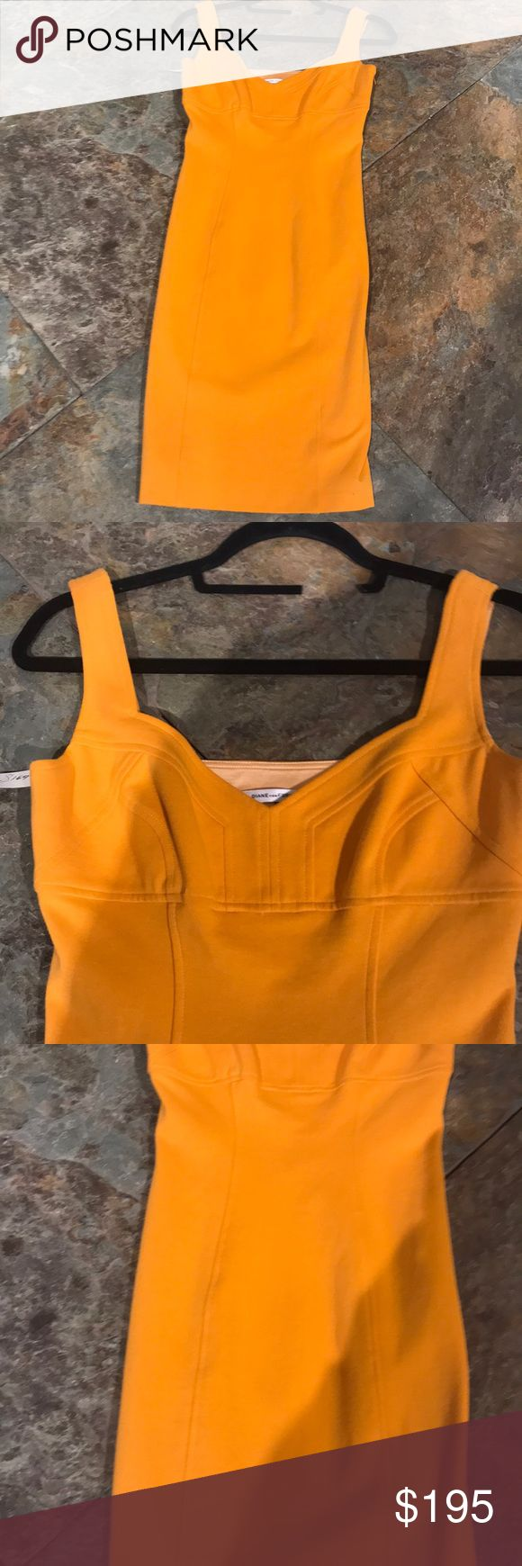 NWT DIANE VON FURSTENBERG TANGERINE 🍊 DRESS THIS FORM FITTING DRESS IS SO SENSATIONAL! Wish it fit me ! Fantastic detail at top with a hidden zipper in back . This dress makes people go WOW !! Diane Von Furstenberg Dresses Midi