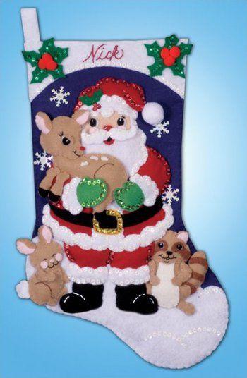 Forest Friends Christmas Stocking - Felt Applique Kit
