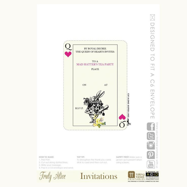 Download your very own personal Alice in Wonderland themed invitation.  Simply print out and cut around the dotted line for your birthday party or afternoon tea party invite.  Note that these PDF downloads are formatted for UK paper and envelope sizes Free download for you to enjoy... just add to your cart and we will email you the PDF file for you to print at home or Click on link on our site to get your free downloadable PDF