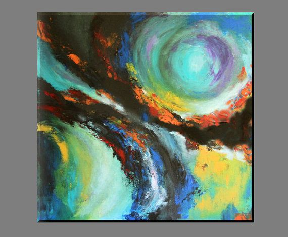 "FREE SHIPPING - Acrylic painting 70x70 cm, 28"" x 28"", original paiting, acrylic, wall decor,canvas, blue,orange,black, yellow, abstract"