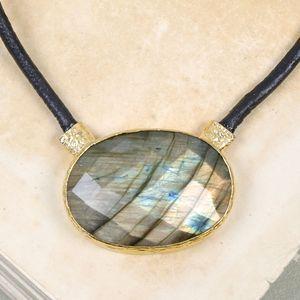 Labradorite Leather Necklace