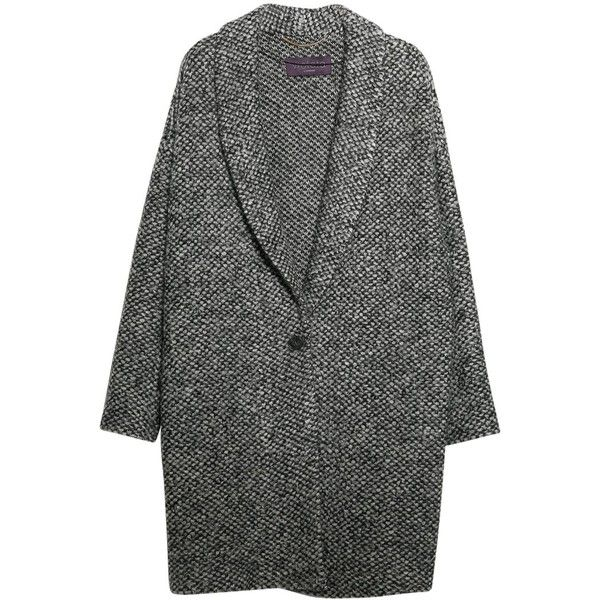 Violeta by Mango Mohair Knitted Cocoon Coat, Medium Grey (£50) ❤ liked on Polyvore featuring outerwear, coats, jackets, coats & jackets, long sleeve coat, gray wrap coat, grey wrap coat, grey coat and cocoon coat