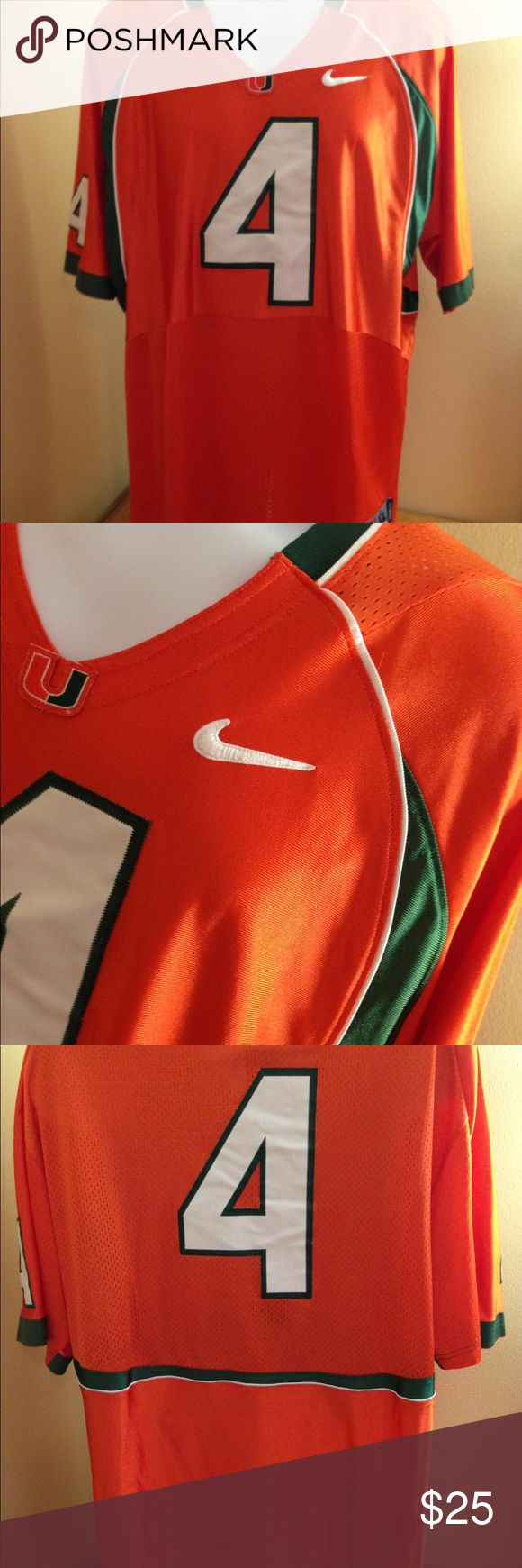 "University of Miami Nike Jersey Sz XL University of Miami Nike Jersey Sz XL in great preowned condition. Armpit to armpit 25"", number 4, see all pics! Nike Shirts"