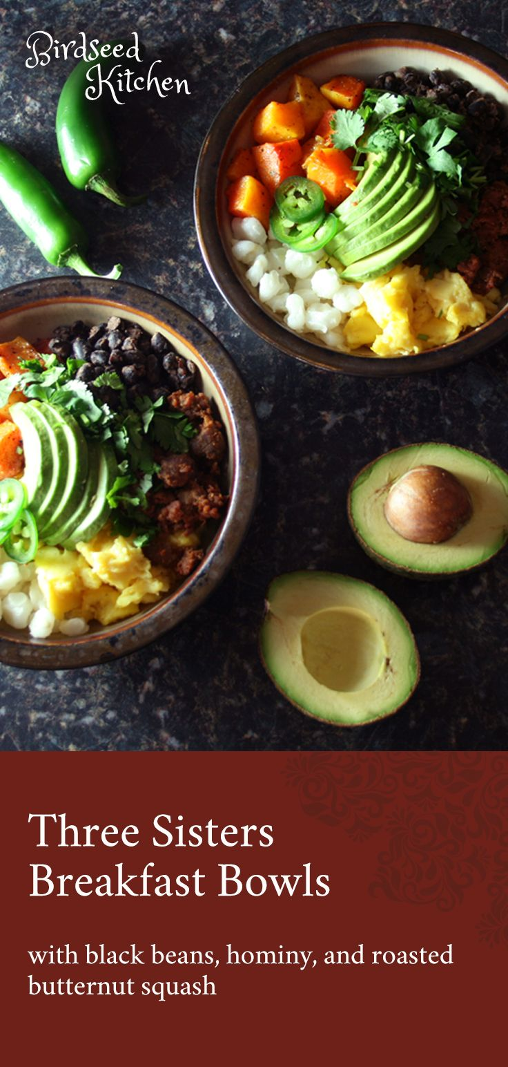 Three Sisters Breakfast Bowls with black beans, hominy, and roasted butternut squash