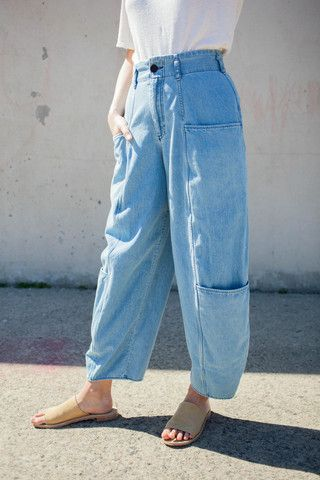 69 Cargo Pants in Medium Light Denim | Oroboro Store | Brooklyn, New York