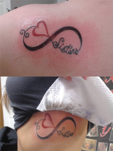 Our sister / best friend tattoo <3 instead of sister, one munchkin, the other squad....one idea