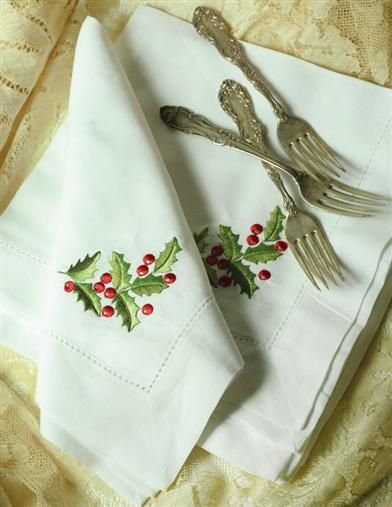 EMBROIDERED HOLLY LINEN NAPKINS @ Victorian Trading