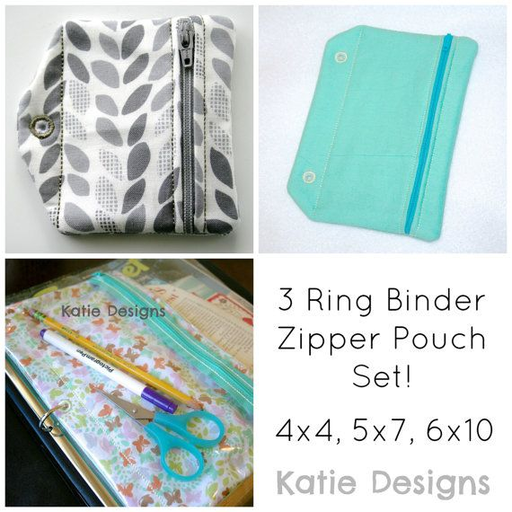 In The Hoop 3 Ring Binder Zipper Pouch Set Machine Embroidery Designs for 4x4, 5x7, and 6x10 Hoops by KatieLDesigns, $14.00