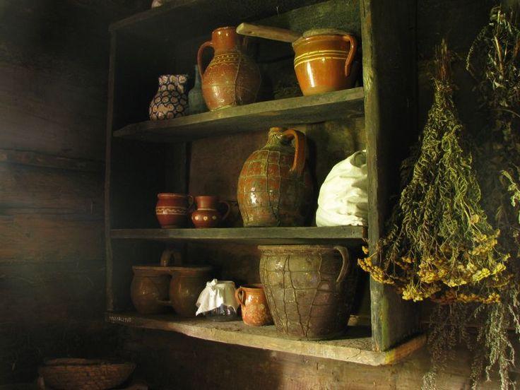 Interior of Polish country cottage kitchen from the village of Sidry. Skansen Wsi Pogorzanskiej.