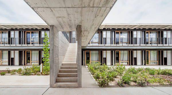 Modular stacked concrete frames | Student housing near Barcelona by dataAE
