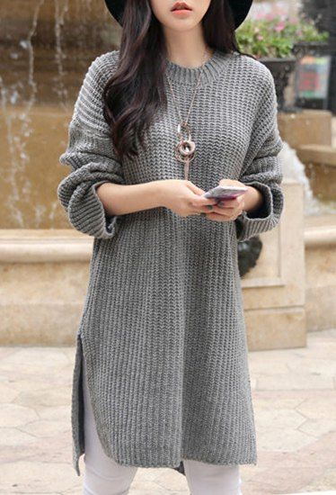 Elegant Round Collar Solid Color Slit Asymmetric Pullover Sweater For Women