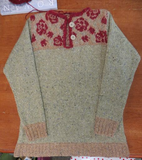 Wendy's Roses Sweater Pattern - Climbing Rose Henley by Cassie Castillo from Interweave Knits, Fall 2014 Yarn - Rowan Felted Tweed DK