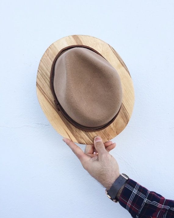 Wood Brim Fedora Camel and Maple by TheBeardedBowtie on Etsy