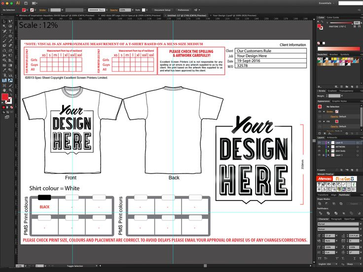 T-Shirt print specs. Making sure our customers get the print they want