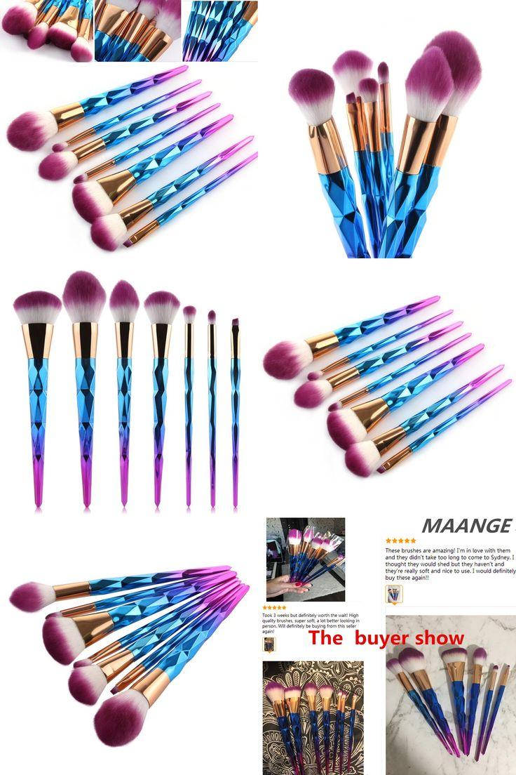 Mint 7pcs Unicorn Conical Gradient Color Makeup Brushes: [Visit To Buy] 7pcs Makeup Brushes Set Diamond Rainbow