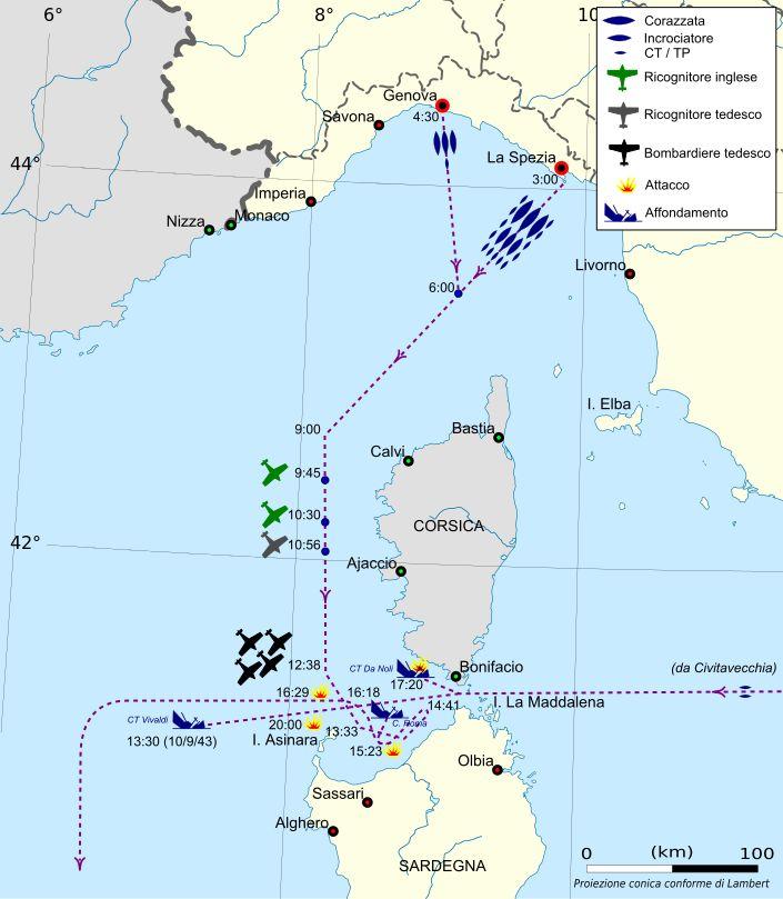 Il movimento della flotta durante il tragico trasferimento del 9 settembre 1943 culminato con l'affondamento della Roma. Come si può vedere altre due unità furono vittime quel giorno della reazione tedesca, i due caccia gemelli, classe Navigatori, Ugolino Vivaldi e Antonio Da Noli.