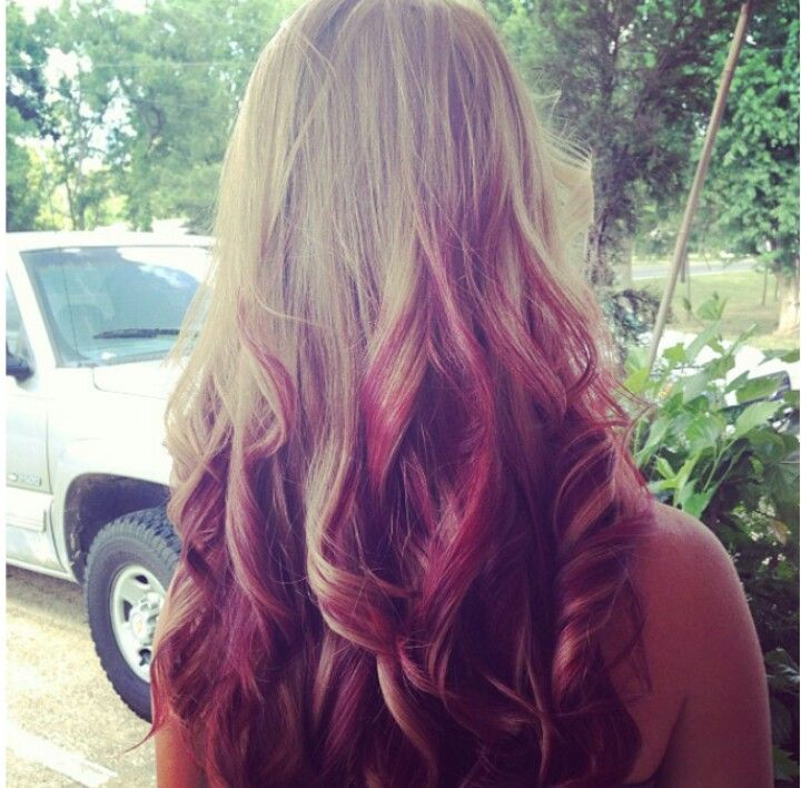 Blonde And Red Reverse Ombre Hair Pinterest Reverse