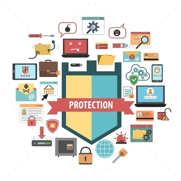 Computer Protection Security Concept  Icons