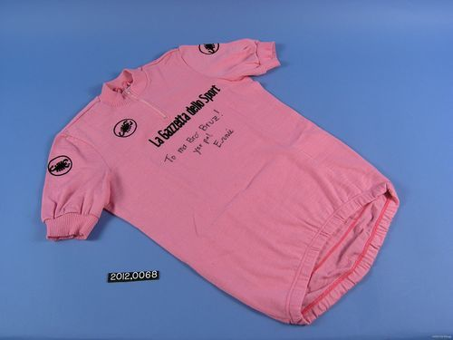 "Pink ""Maglia Rosa"" leader's jerseys awarded to Andy Hampsten during the  1988 Giro d'Italia. From NMAH collection"