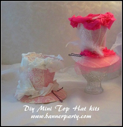 Mini top hat tutorial with pattern templates. A cute party favor, and party activity for a tea party, or alice and wonderland themed party.