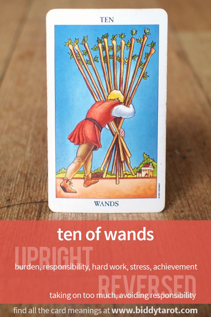 Ten of Wands #tarotcardmeaning learn more athttps://www.biddytarot.com/tarot-card-meanings/minor-arcana/suit-of-wands/ten-of-wands/