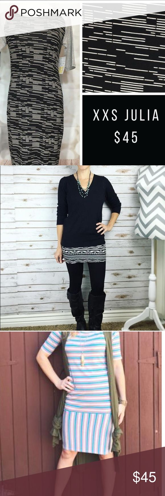 #Gray #Black #White #Geo #Julia #LuLaRoe NWT Absolutely gorgeous neutral pattern Bodycon style dress. Loved this on sight.   Wasn't our size. But we knew someone must need this!   So versatile! Year round wear!! Jean jacket or layered! Booties/ sandals/ over the knee boots- can't go wrong!   NWT Handpicked with Love LuLaRoe Dresses