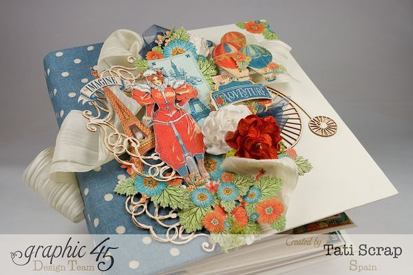 Tati Scrap's beautiful World's Fair Mixed Media Album with gorgeous dimensional fussy cut elements #graphic45