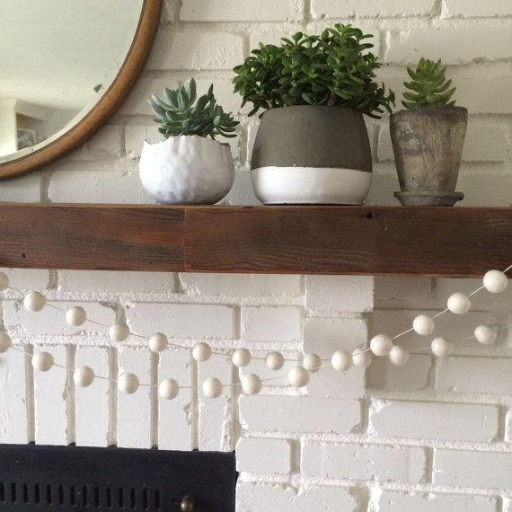 Fireplace AND Cream Felt Ball Garland
