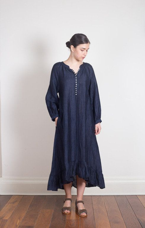 202123107f2 Buy the Masscob Linen Blend Long Dress Navy from our range of Dresses items  either in