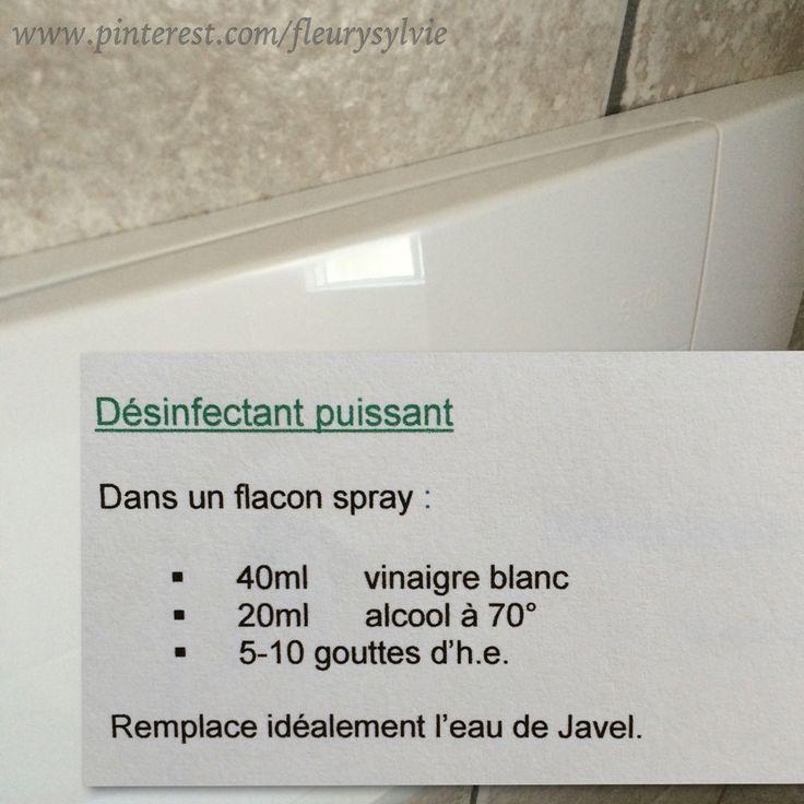"""Désinfectant """"maison"""". Dans un flacon spray pour la cuvette des WC, etc...j'ai testé...ça marche!"""